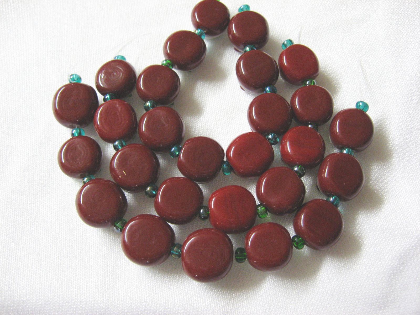 Dark Red Lampwork Glass  Beads, Cherry Blossom 9 beads. 13mm image 2
