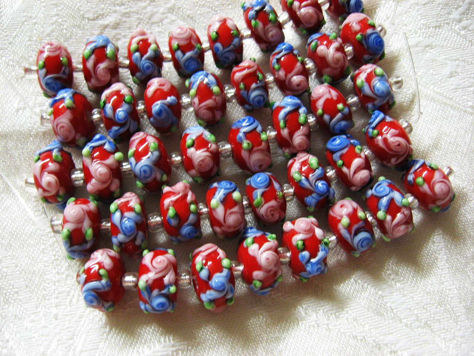 Red Lampwork Glass Rondelle Beads Pink, Blue Flower 15mm, strand of 8