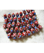 Red Lampwork Glass Rondelle Beads Pink, Blue Flower 15mm, strand of 8 - $5.29