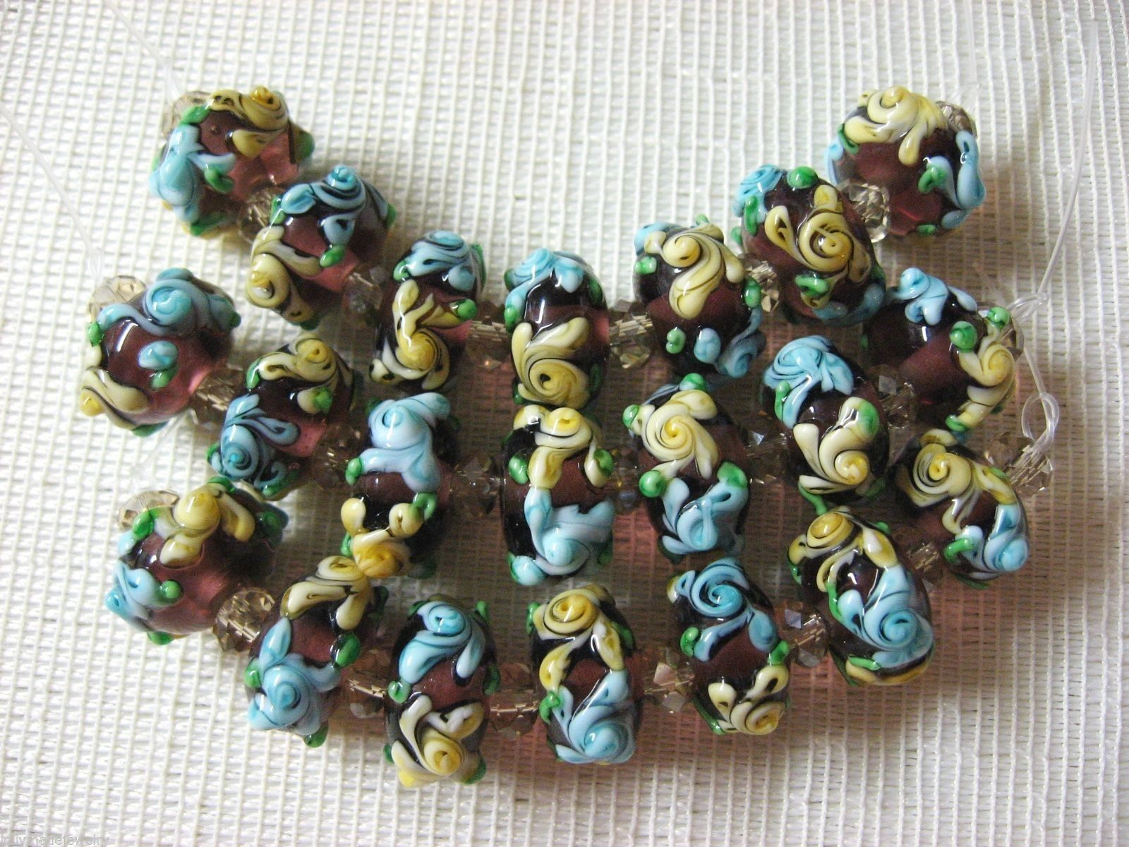 Purple Lampwork Glass Rondelle Beads Aqua, Yellow Flower 15mm, 7 pc.