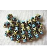 Purple Lampwork Glass Rondelle Beads Aqua, Yellow Flower 15mm, 7 pc. - $5.65