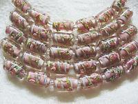 Mauve Pink Lampwork Glass Tube Beads, 15mm 6 beads