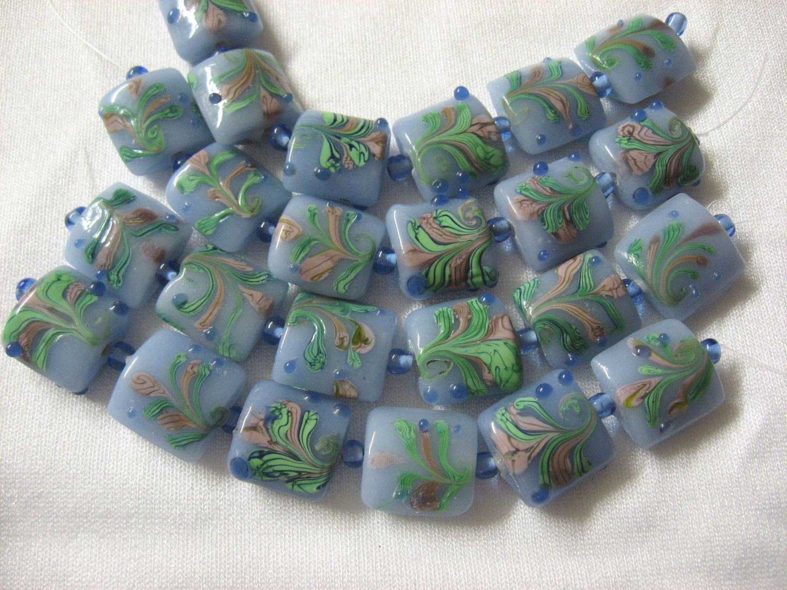Blue Lampwork Glass Square Pillow Beads, pink, green, 15mm, 6 pc.