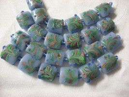 Blue Lampwork Glass Square Pillow Beads, pink, green, 15mm, 6 pc. image 1
