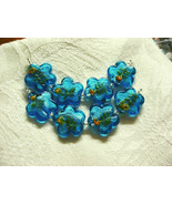 Aqua Blue Silver Foil Lampwork Glass Flower Beads 24mm 4 beads - $5.45
