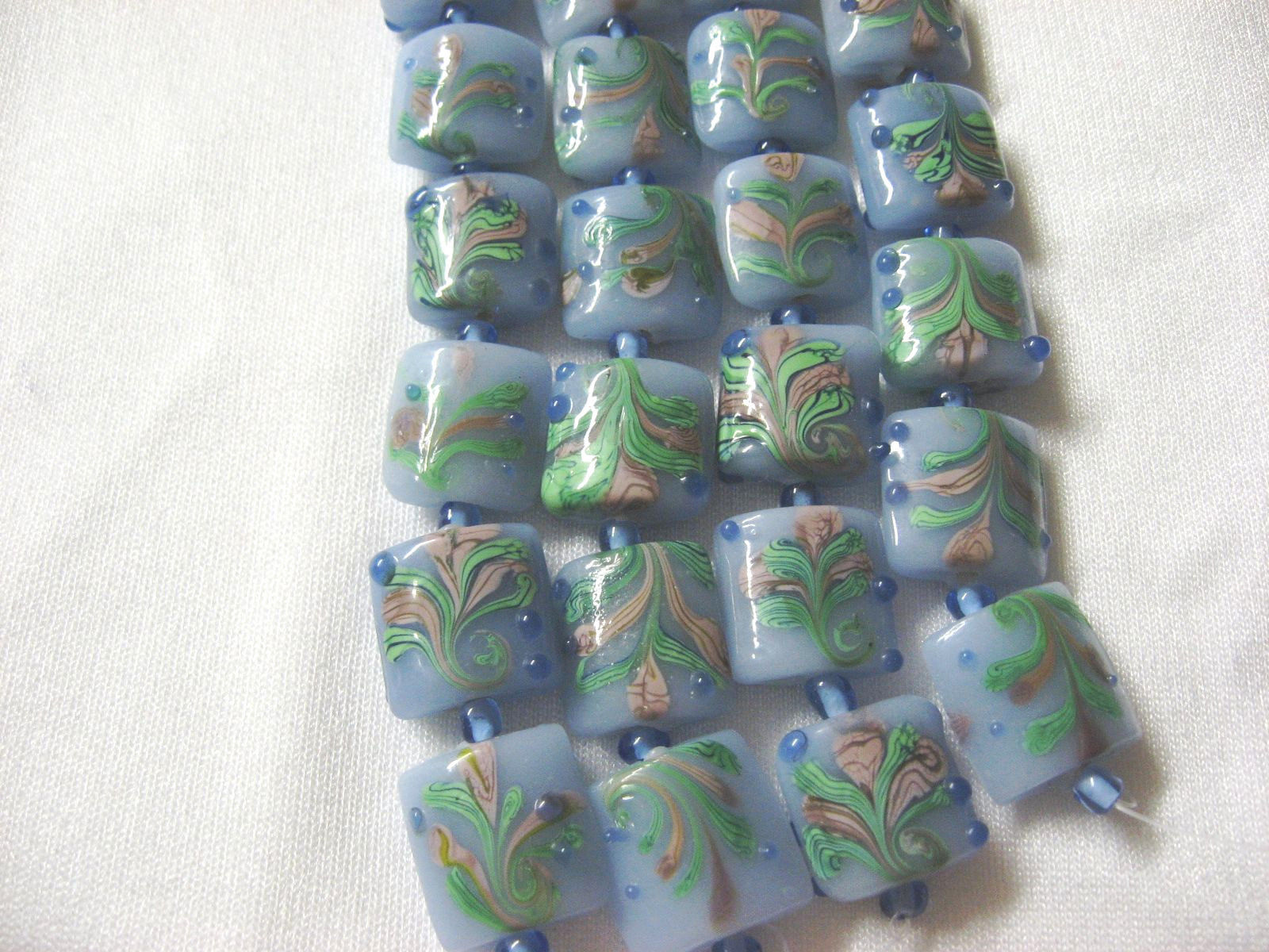 Blue Lampwork Glass Square Pillow Beads, pink, green, 15mm, 6 pc. image 2