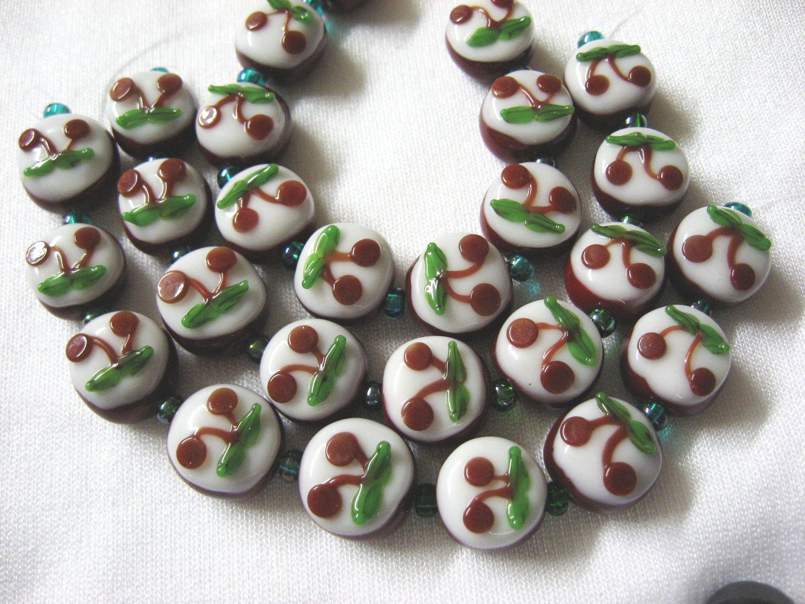 Dark Red Lampwork Glass  Beads, Cherry Blossom 9 beads. 13mm