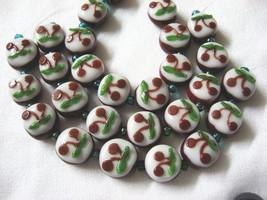 Dark Red Lampwork Glass  Beads, Cherry Blossom 9 beads. 13mm image 1