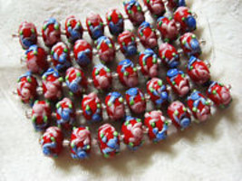 Red Lampwork Glass Rondelle Beads Pink, Blue Flower 15mm, strand of 8 image 2