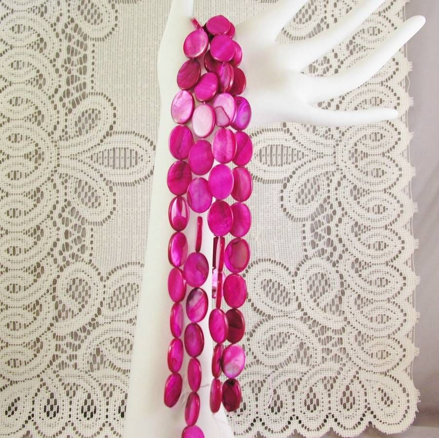 """Fuchsia Pink Mother of Pearl Shell Beads Flat Oval 18mm 1 16"""" str, 22 beads"""