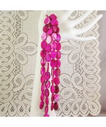 """Fuchsia Pink Mother of Pearl Shell Beads Flat Oval 18mm 1 16"""" str, 22 beads - $2.85"""