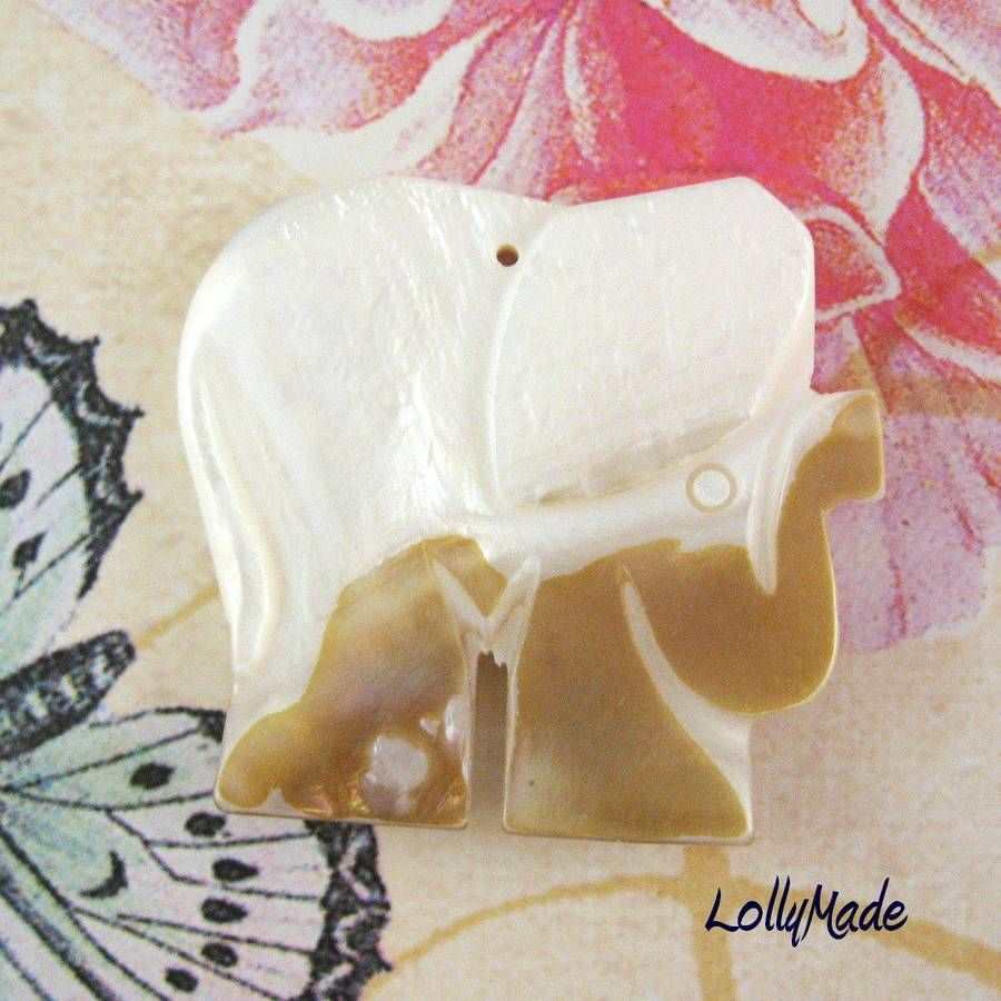 Gold Lip Mother of Pearl Shell Elephant Focal Bead, 43mm