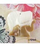 Gold Lip Mother of Pearl Shell Elephant Focal Bead, 43mm - $6.50