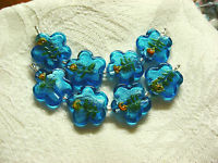 Aqua Blue Silver Foil Lampwork Glass Flower Beads 24mm 4 beads