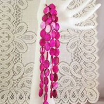 """Fuchsia Pink Mother of Pearl Shell Beads Flat Oval 18mm 1 16"""" str, 22 beads image 3"""