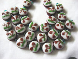 Dark Red Lampwork Glass  Beads, Cherry Blossom 9 beads. 13mm image 3