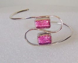 Sterling Silver & Pink Dichroic Glass Cuff Bracelet Swirl Bangle - $25.00