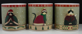 SAKURA HOLIDAY CATS MUGS Cats in Clothes Fiddlestix Stoneware Set of 3 - $14.95