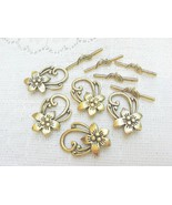 Gold Plated Pewter Flower Toggle Clasp, 30mm, 3 Toggle Sets - $3.30