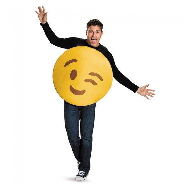 Disguise Strizzatina D'Occhio Faccia Emoji Emoticon Pippo Adulto Unisex