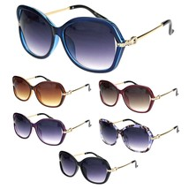 Rhinestone Iced Hinge Side Exposed Lens Plastic Butterfly Sunglasses - $12.95