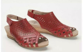 Earth Leather Perforated Wedge Sandals Size 7.5W Wide Pisa Galli Bright Red Shoe - $82.19