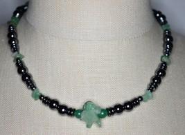 VTG Silver Tone Light Green Glass Hematite Beaded Necklace Choker - $19.80