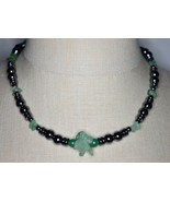 VTG Silver Tone Light Green Glass Hematite Beaded Necklace Choker - $19.80