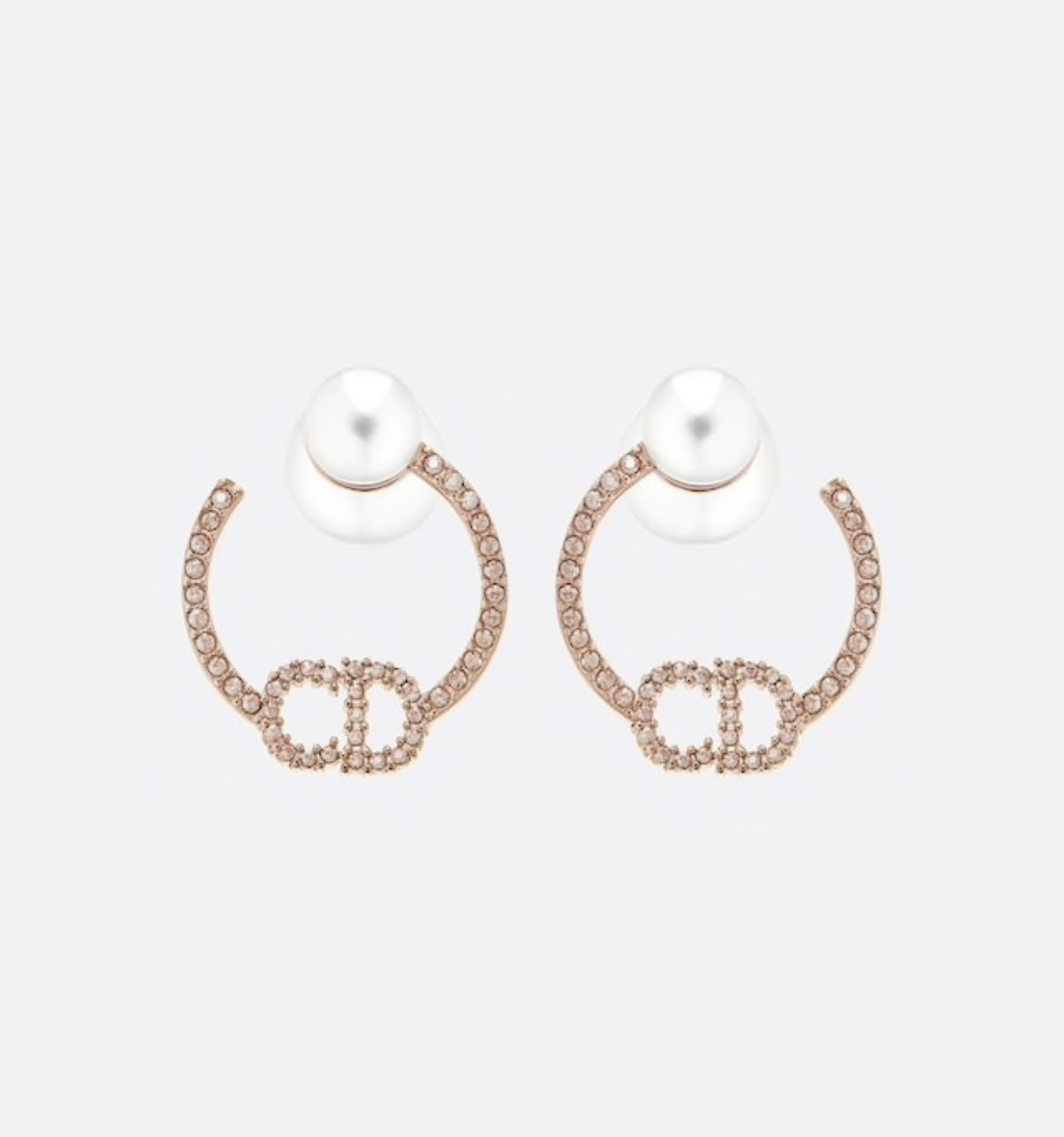 AUTH Christian Dior 2020 ROSE GOLD CD LOGO CRYSTAL HOOP PEARL EARRINGS
