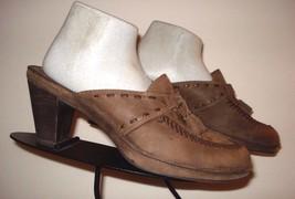 CLARKS Artisan Brown Distressed Nubuck Leather Heeled Slide Sz. 9M - $39.11