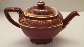 Hall Hollywood Shape Maroon with Gold Accents Teapot - $35.00