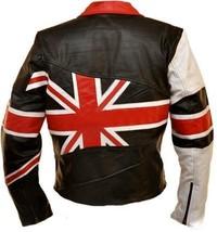 NWT Union UK Flag Patriotic Black Premium Genuine Real Leather Jacket image 2