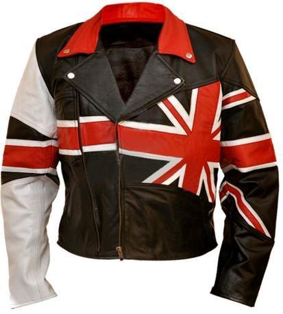 NWT Union UK Flag Patriotic Black Premium Genuine Real Leather Jacket