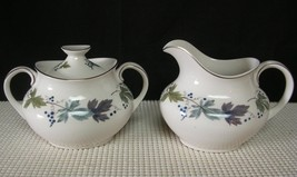 BURGUNDY TC100 Royal Doulton CREAMER & COVERED SUGAR BOWL Bone China EUC... - $28.85