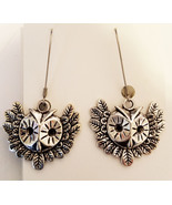 silver owl earrings wing earrings long dangles handmade metal bird anima... - $5.75