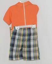 Little Rebels Surf Club Short and Shirt Set Orange Plaid Size 2T image 2