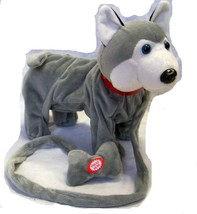 LARGE GREY HUSKY REMOTE CONTROL WALKING DOG WITH SOUND battery operated toy - $18.00