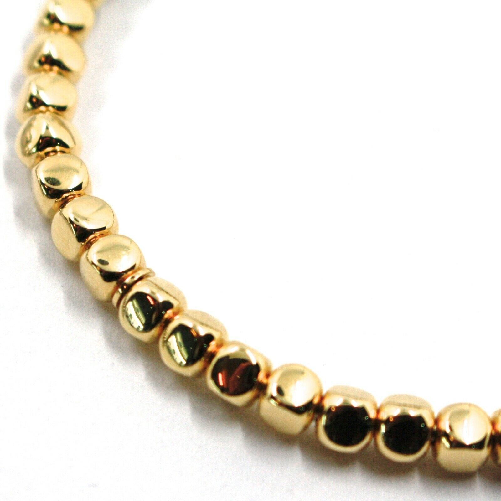 """SOLID 18K YELLOW GOLD ELASTIC BRACELET, CUBES DIAMETER 4 MM 0.16"""", MADE IN ITALY image 3"""