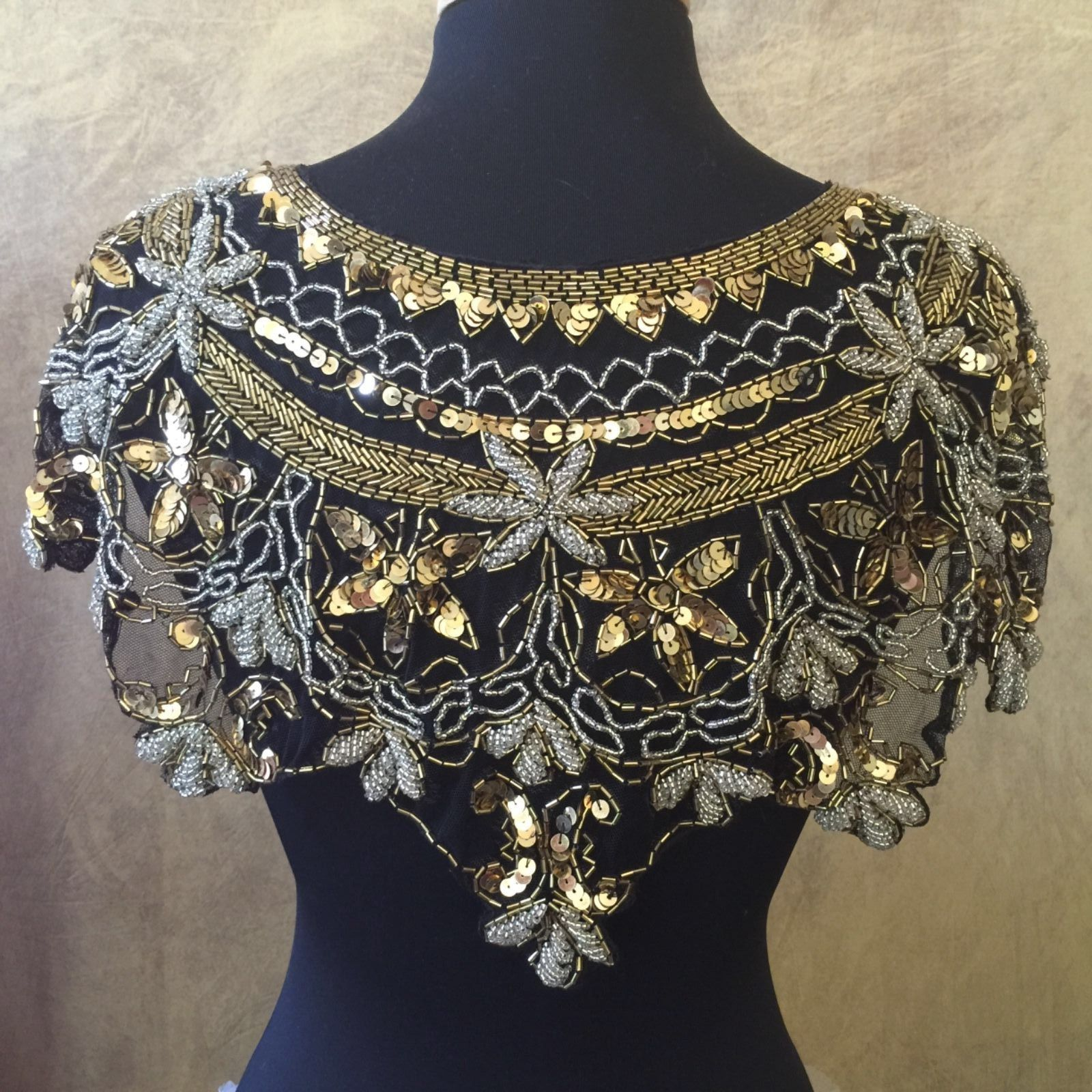 Primary image for Sequin Beaded Lace Hip Wrap Collar Shoulder Shrug Shawl Applique Silver & Gold