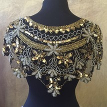 Sequin Beaded Lace Hip Wrap Collar Shoulder Shrug Shawl Applique Silver ... - $38.99