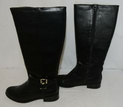 Soda HIROS Black Zip Up Riding Boot Gold Colored Accents Size Nine image 5