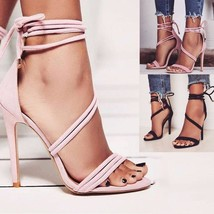 Sexy Stiletto Sandals for Women Summer Elegant Lace Up High Heels Suede Pointed