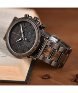 Luxury Wood Stainless Steel Men Watch Stylish Wooden Timepieces Chronogr... - $69.00