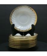 Vintage Fire King Anchor Hocking Swirl Gold Trim White Milk Glass Saucer... - $15.52