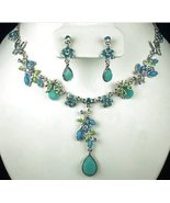 Necklace & Earring Set Aqua & Blue Beads & Crystals - $24.99