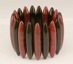 Vintage Wide Black Brown Swirl Lucite Stretch Bracelet EBA9 - $27.72