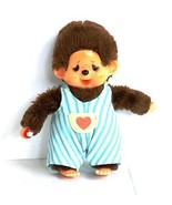 Crying Monchhichi doll with striped blue dungarees, Vintage Japan toy - $25.76