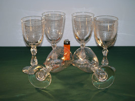 A Set of 6 Antique Crystal cut and Etched Wine Glasses  - $265.00