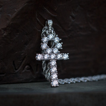 White Gold Diamond Ankh Necklace - $27.99