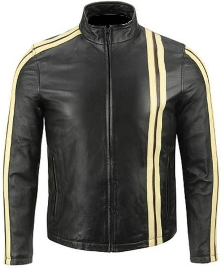 NWT Black with Cream Stripes Fashion Stylish Premium Genuine Real Leather Jacket